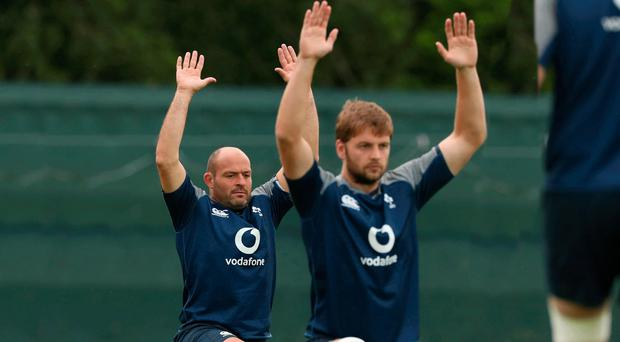 At a stretch: Rory Best (left) and Iain Henderson in Ireland training