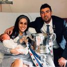 Family celebration: Steven Douglas with wife Paula and baby Charlie who was born the day before the 2018 Irish Cup Final