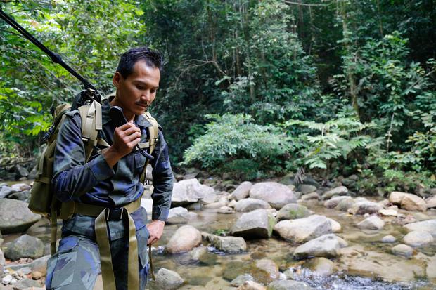 A rescue team member conducts a search and rescue operation for a missing British girl at a forest in Seremban, Negeri Sembilan, Malaysia, Thursday, Aug. 8, 2019. Malaysian police said Wednesday they were analyzing fingerprints found in a forest resort cottage where Nora Anne Quoirin, the British teenager, was reported missing and did not rule out a possible criminal element. (AP Photo/Lai Seng Sin)