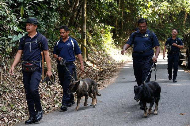 A Police K9 unit team conducts a search and rescue operation for a missing British girl at a forest in Seremban, Negeri Sembilan, Malaysia, Thursday, Aug. 8, 2019. Malaysian police said Wednesday they were analyzing fingerprints found in a forest resort cottage where Nora Anne Quoirin, the British teenager, was reported missing and did not rule out a possible criminal element. (AP Photo/Lai Seng Sin)