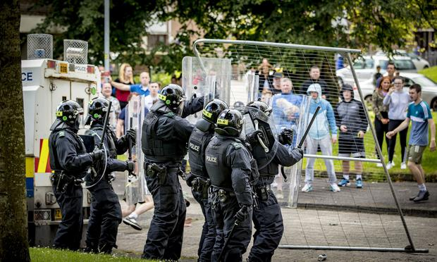 Police deal with disorder at the Newlodge bonfire in north Belfast on August 8th 2019 (Photo by Kevin Scott for Belfast Telegraph)