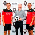 Different class: Manchester United's Class of '92 icons Gary Neville, Ryan Giggs, Paul Scholes and Phil Neville pictured with TalkTalk's Group Marketing Director David Parslow as the communications company yesterday announced a new five-year partnership with Salford City FC, which the ex-United stars now own