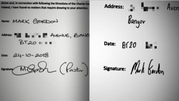 The signature on the accounts (left) and a signature of Mr Gordon's (right). Credit: BBC