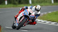Lean machine: Peter Hickman at Quarry Bends on Thursday