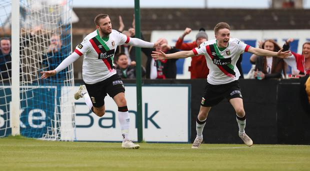 Big impact: Darren Murray (far left) finds the net for Glentoran last night