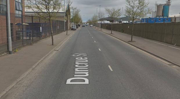The robbery took place in the Duncrue Street area. Credit: Google