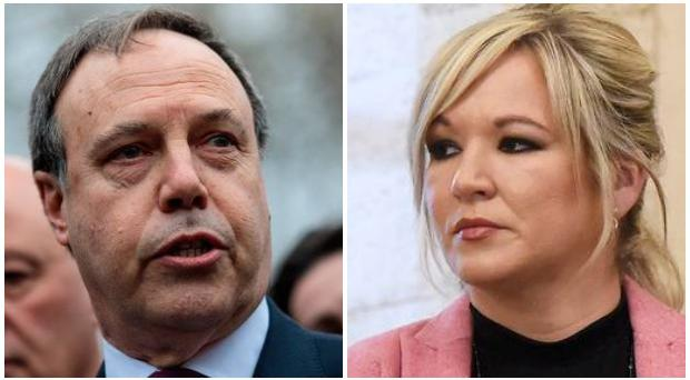DUP deputy leader Nigel Dodds and Sinn Fein deputy leader Michelle O'Neill.