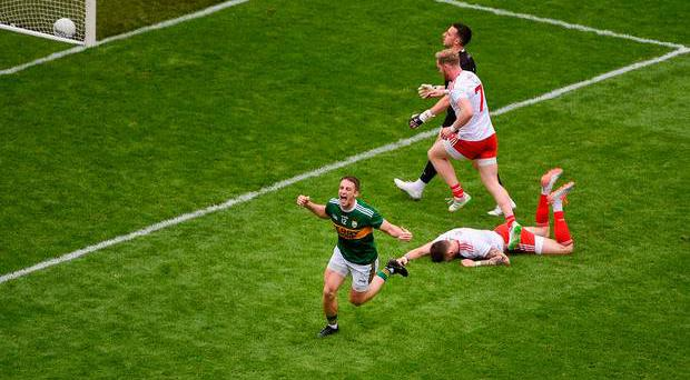 Stephen O'Brien of Kerry celebrates after scoring his side's goal in the All-Ireland SFC semi-final at Croke Park in Dublin. Photo: Daire Brennan/Sportsfile