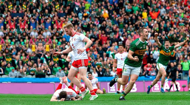 Glory and despair: Kerry's Stephen O'Brien breaks Tyrone hearts yesterday