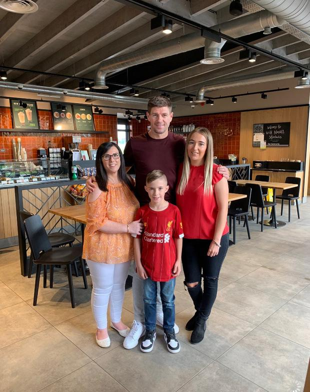 Robbie's family with Steven Gerrard