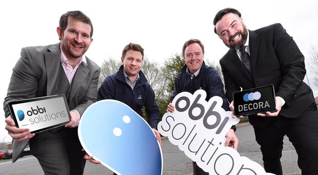 Director of Obbi Solutions Gareth Macklin; David Rankin of Decora Blinds; Decora training manager Barry Hughes, and JP McCorley from Obbi Solutions