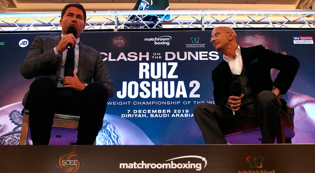Stage set: Eddie Hearn, managing director of Matchroom Sport and Omar Khalil, Managing Partner of Skill Challenge Entertainment, formally announce 'Clash on the Dunes' between Anthony Joshua and Andy Ruiz Jr