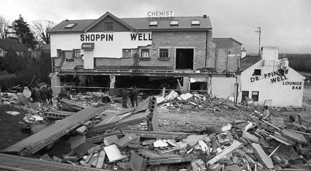 The Droppin Well bar and disco in Ballykelly destroyed by a Irish National Liberation Army bomb in 1982. Credit: PA Wire