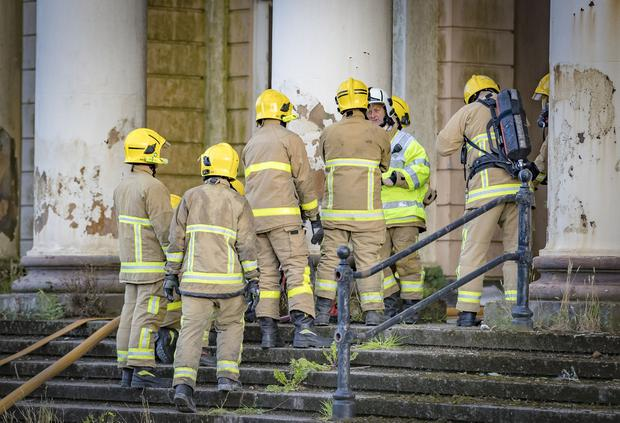 Firefighters at the scene of a blaze in the Crumlin road court house Belfast on August 13th 2019 ( Photo by Kevin Scott )