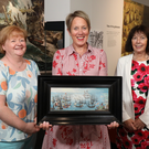 Shirley Chambers from Department for Communities, Kathryn Thomson, CSO of National Museums NI and Anna Carragher, Trustee of National Heritage Memorial Fund, with the rare painting