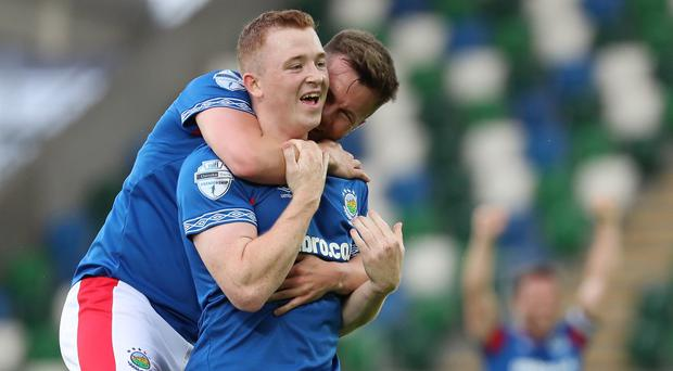 Linfield's Shayne Lavery was the man of the match at Windsor Park on Tuesday.