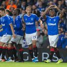 Rangers Alfredo Morelos (right) celebrates scoring his side's third goal of the game. Credit: Jeff Holmes/PA Wire