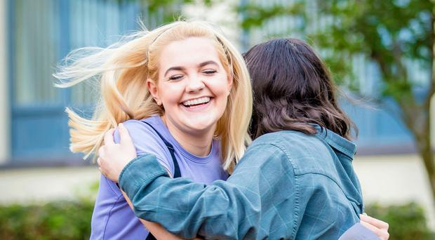 Catherine Jackson and Ashleigh Murray on A-level results day at Dominican College