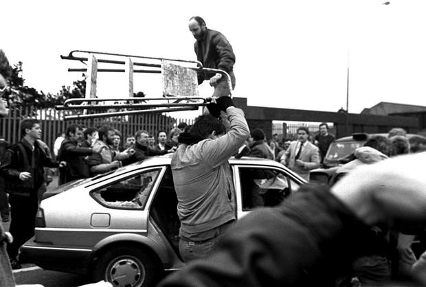 PACEMAKER BELFAST Archive Flashback to the 19/3/88. Two British Army corporals stray into an IRA funeral of Kevin Brady in Andersonstown. The two men are blocked in and attacked by an angry mob of mourners. The two men were viciously beaten by the mob before being shot dead on waste ground close to Casement Park.