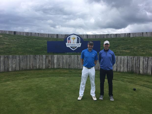 Chris and his brother-in-law Simon on the first tee on the Albatros course Le Golf National