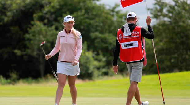 In front: Stephanie Meadow is joint-leader on four-under par