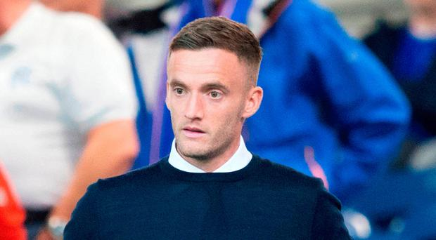 Challenge: Andy King at Ibrox on Thursday