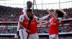 Arsenal's Pierre-Emerick Aubameyang celebrates regaining the lead for the hosts at the Emirates Stadium.