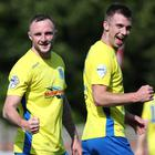 Jude Winchester celebrates helping Ballymena United to their first win of the season.