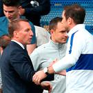 Proud boss: Brendan Rodgers greets Frank Lampard
