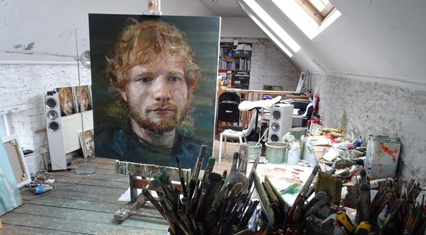 An oil portrait of the pop star, created by Colin Davidson, which is being displayed as part of an exhibition called Ed Sheeran: Made In Suffolk (John Sheeran/PA)