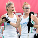 Easy pickings: Ireland's Zoe Wilson (centre) is congratulated after scoring in the rout of Belarus