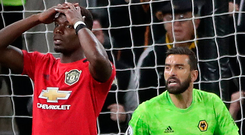 Don't believe it: Paul Pogba reacts after having his penalty kick saved by Wolves keeper Rui Patricio