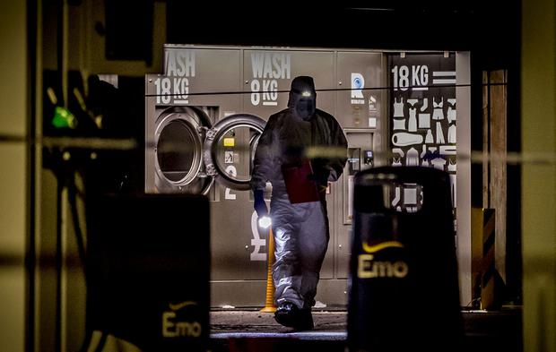 Police and forensic officers at the scene of a fatal shooting close to a garage forecourt in Main street, Waringstown on August 19th 2019 (Photo by Kevin Scott for Belfast Telegraph)