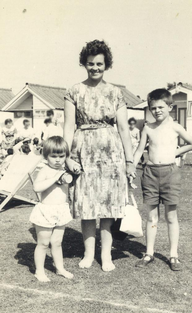 Paul's sister Angela Martin, Mary-Ann Power (Paul's mother) and Paul Merton (aged 7) - taken at Hemsby Holiday Camp - 1964