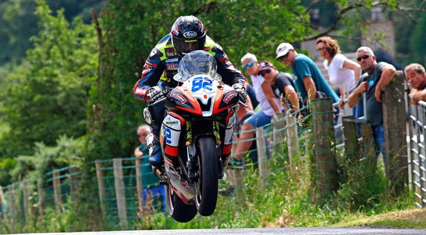 Left frustrated: Derek Sheils was unable to get a lap he wanted under his belt yesterday during the qualifying sessions for the Classic TT and Manx Grand Prix on the Isle of Man