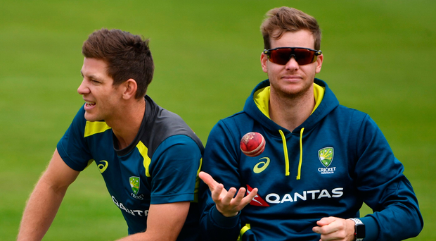 Big blow: Australia's captain Tim Paine (left) and Steve Smith, who will miss out at Headingley through concussion