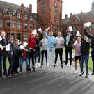 Pupils from Campbell College celebrate their GCSE results in 2018. Photo: Declan Roughan for Press Eye