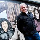 Joe Campbell, who designed the 'Factory Girls' artwork, at yesterday's launch in Derry's Craft Village