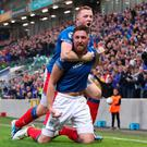 Mark Stafford and Shane Lavery scored to put Linfield into a 2-1 half-time lead.