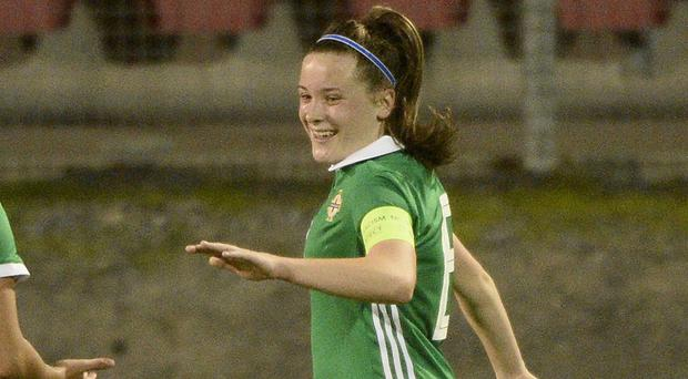 Megan Bell celebrates scoring for Northern Ireland against Estonia last year.
