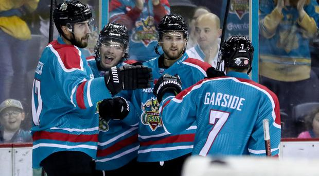 Belfast Giants' Liam Morgan celebrates scoring against Herning Blue Fox (William Cherry/Presseye)