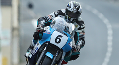 In control: Michael Dunlop at Kirk Michael during last night's Classic TT qualifying session