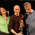 Stephen Fry with Jordan Brookes, winner of Best Comedy Show at the 2019 Dave's Edinburgh Comedy Awards and Rose Matafeo, last year's winner (Andrew Milligan/PA)