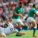 Ireland's Peter O'Mahoney (right) during the Quilter International match at Twickenham Stadium, London. PRESS ASSOCIATION Photo. Picture date: Saturday August 24, 2019. See PA story RUGBYU England. Photo credit should read: David Davies/PA Wire. RESTRICTIONS: Editorial use only, No commercial use without prior permission