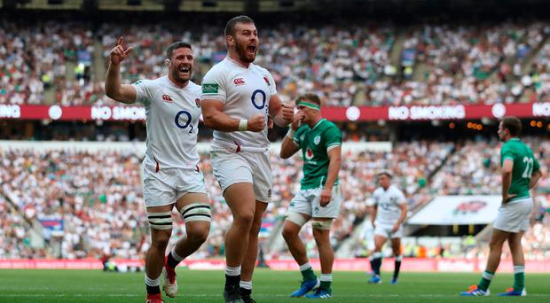 Luke Cowan-Dickie of England celebrates after scoring a try