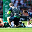 Cian Healy left the Twickenham pitch injured.