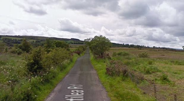 The suspect was found in a caravan in the Gortilea Road area of Claudy. Credit: Google