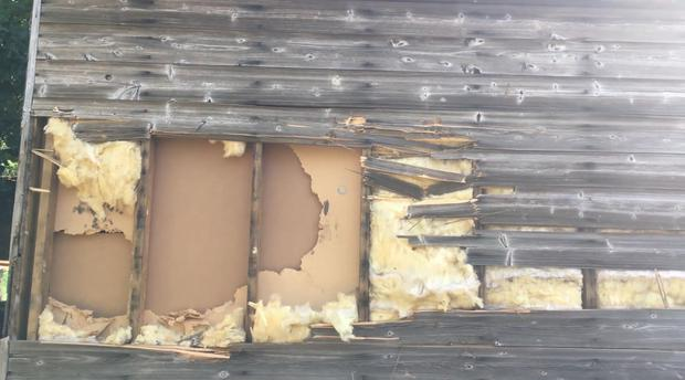 Ballyclare Free Presbyterian Church has become victim of vandalsim and anti-social behaviour, this time with a large section of Church Hall wall ripped out.