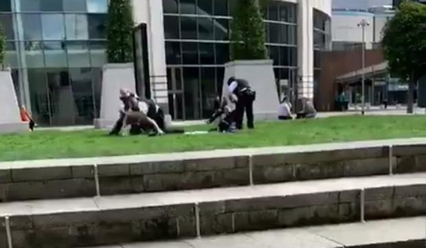 Police arrested a man outside the Waterfront Hall on Friday.