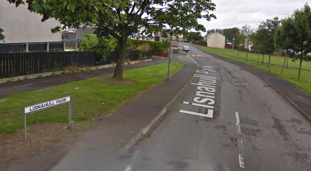 The fire happened at a block of flats in Lisnahull Park. Credit: Google